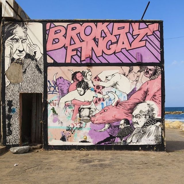 Tel Aviv is a street artist\'s paradise. Check out this piece of art by the street artist crew #BrokenFingaz