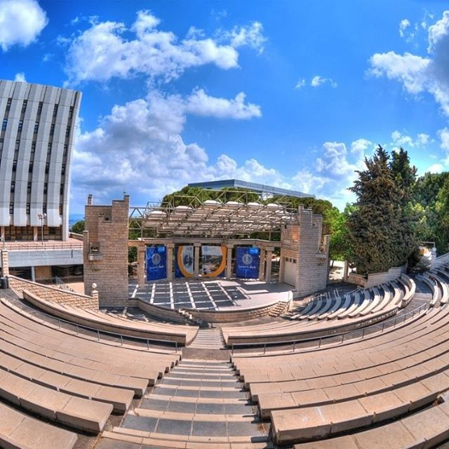 A fisheye view of the #Technion outdoor amphitheater in #Haifa.