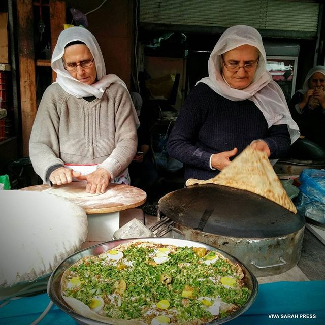 Druse women making pita in Carmel Market. #TelAviv  Photo Credit: Viva Sarah Press