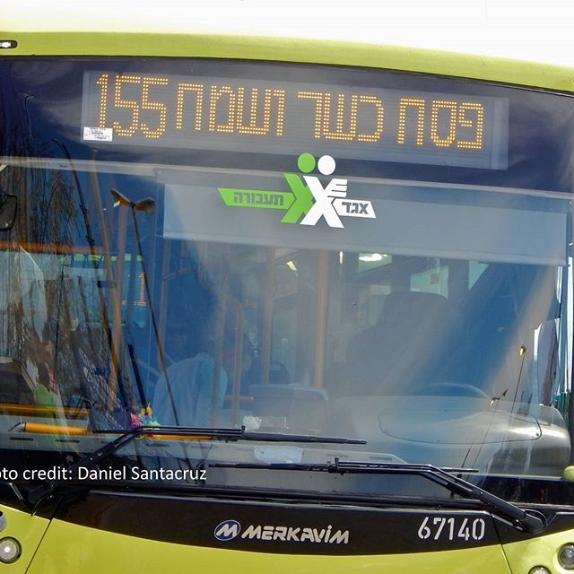 In #Israel, bus companies wish their passengers a happy #Passover. #Pesach. Photo credit: Daniel Santacruz
