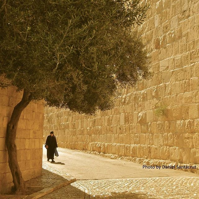 A woman takes a lovely stroll on one of the streets of the #CityofDavid in #Jerusalem  Photo credit: Daniel Santacruz