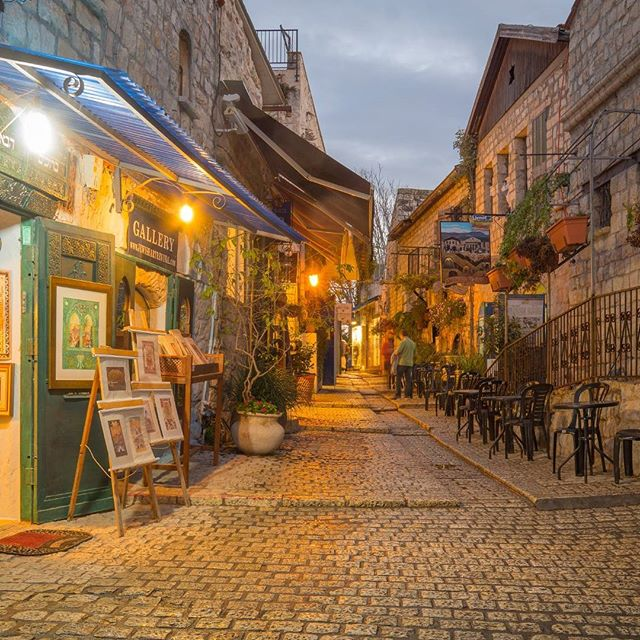 #Sunset scene in an ally in the Jewish quarter, in #Tzfat, #Israel