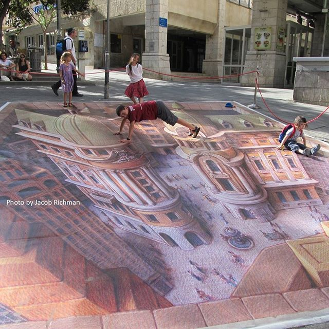 Children playing on #3D chalk art in downtown #Jerusalem  Photo credit: Jacob Richman