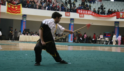 Shmuel Shoshtari competing in kung fu competition