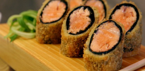 Salmon oil in sushi