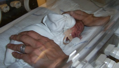 Dr. Iris Morag with preemie