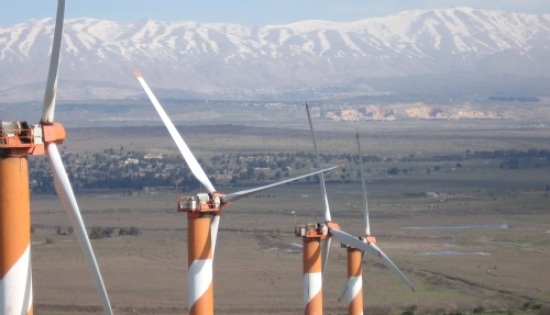 Wind turbines in Golan Heights