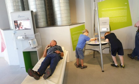 All you have to do is lie down to be monitored by EarlySense for temp, movement and breathing. Photo courtesy of Bloomfield Science Museum