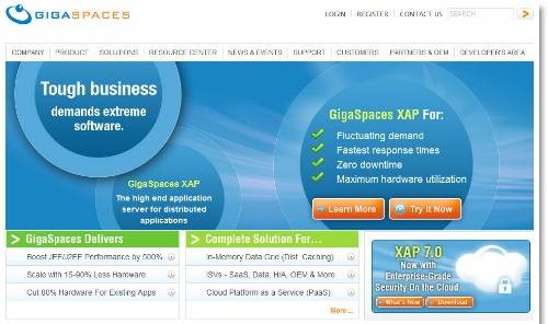 Gigaspaces homepage