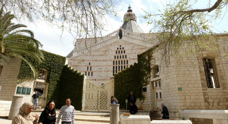People walking near the Basilica of the Annunciation in Nazareth. Photo by Nati Shohat/Flash90